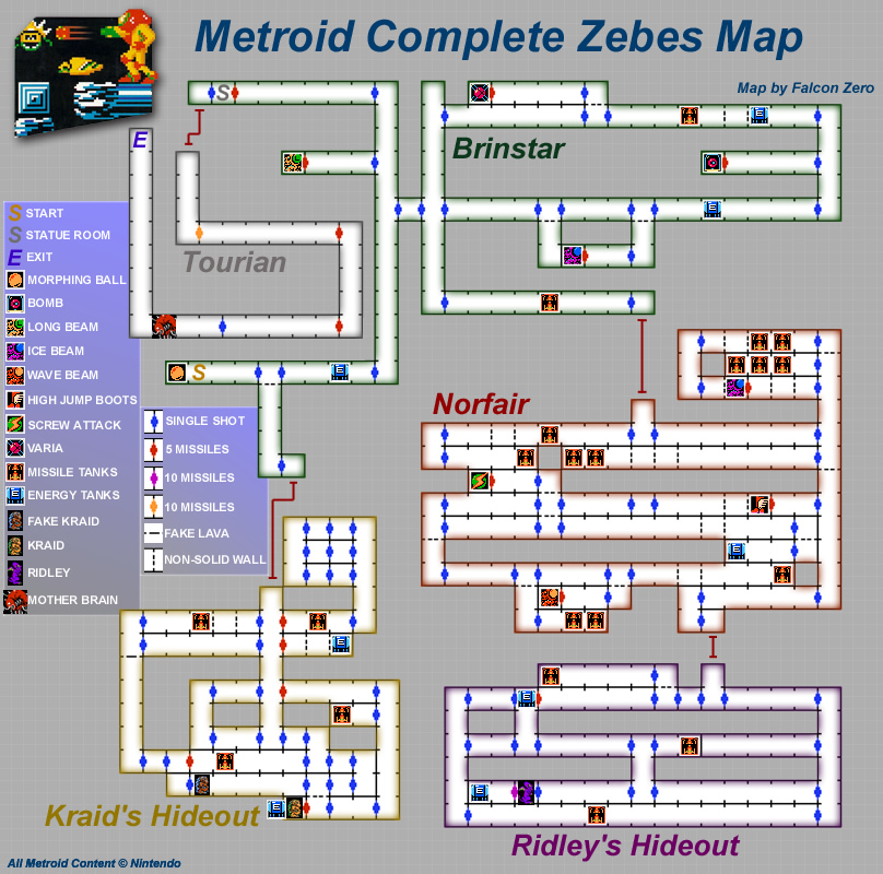 Nes Metroid Map Game maps   Metroid (Metroid Recon) Nes Metroid Map