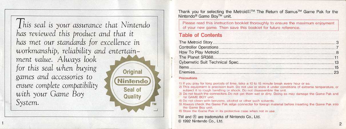 Metroid II instruction manual
